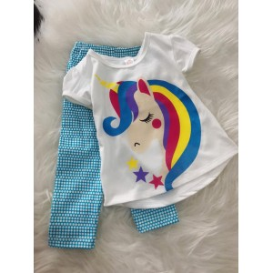 Girl Set -White Unicorn With Blue Dot pant