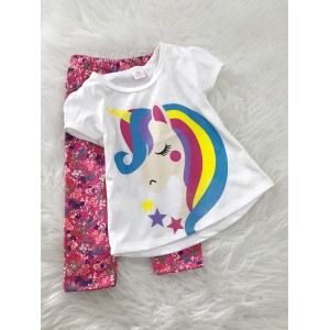 Girl Set -White Unicorn With Pink Floral Pant
