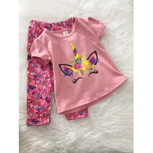 Girl Set -Pink Unicorn With Pink Little Floral Pant