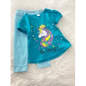 Girl Set -Turq Blue With Blue Dot Pant