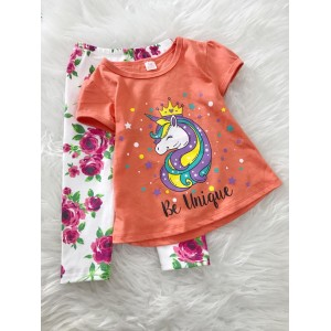 Girl Set -Orange Unicorn With Rose Pant