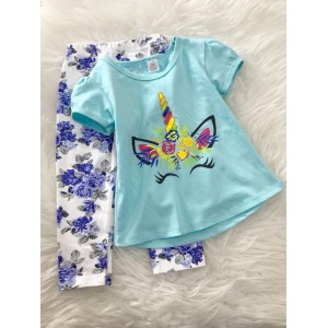 Girl Set -Skyblue unicorn With Blue Rose pant
