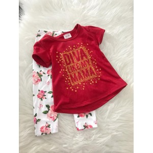 Girl Set -Red Diva With Rose pant
