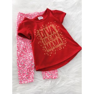 Girl Set -Red Diva With Leopard Pant