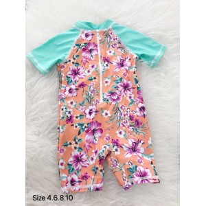 Swimsuit - Mint Orange Flower