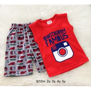 Singlet Boy Set -Red Insta With Grey Pant
