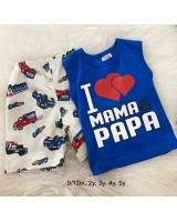 Singlet Boy Set -Blue I Love mom With cream pant