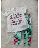 Girl Set -White Meow Princess With Green Pant
