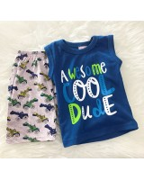 Singlet Boy Set -Turq Blue Awesome