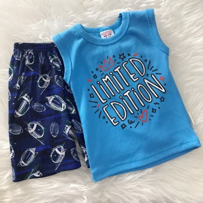 Singlet Boy Set -Skyblue Limited With Navy Pant