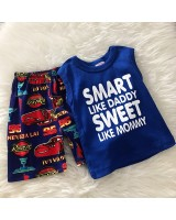 Singlet Boy Set -Navy Blue Smart With Car Pant