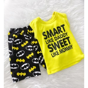 Singlet Boy Set -Yellow Smart With Batman Pant