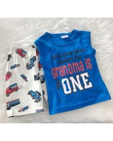 Singlet Boy Set -Blue Granma Is One