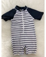 Swimsuit -Grey White Stripe