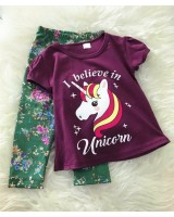 Girl Set -Purple Unicorn With Green Pant