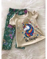 Girl Set -Khaki Unicorn With Green Pant