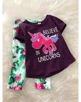Girl Set -Purple Believe In Unicorn