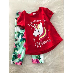 Girl Set -Red Unicorn With Green pant