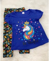 Girl Set -Royal Blue Unicorn