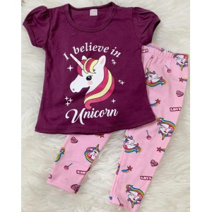 Girl Set -Purple Unicorn With Pink Unicorn pant