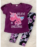 Girl Set -Purple Belive In Unicorn With Black Purple pant