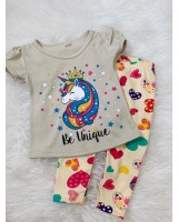 Girl Set -Khaki Unicorn With Love Pant