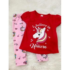 Girl Set -Red Unicorn With Pink Unicorn Pant