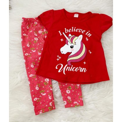 Girl Set -Red Unicorn With Pink Flower Pant