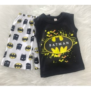 Singlet Boy Set -Black Batman With Batman Pant