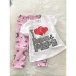 Girl Set -White I Love mama Papa With Unicorn Pant