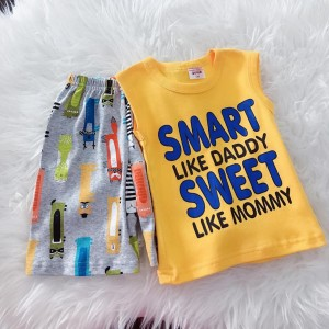 Singlet Boy Set -Yellow Smart With Cartoon Pant