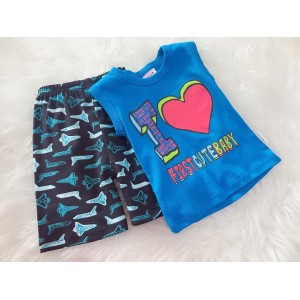 Singlet Boy Set -Blue I Love Firstcutebaby
