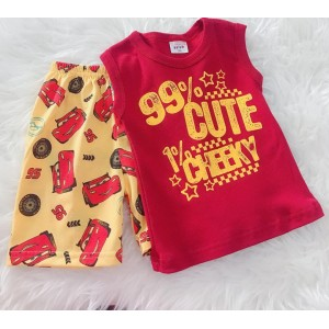 Singlet Boy Set -Red 99% Cute