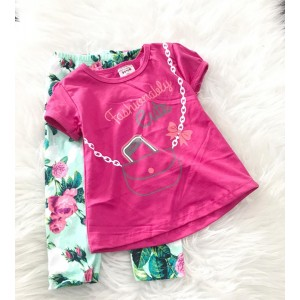 Girl Set -Pink fashion Lady With Floral Pant
