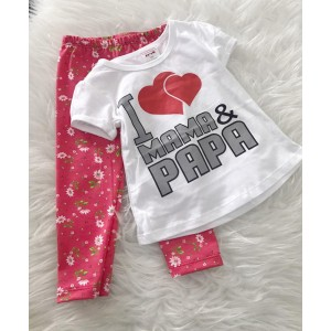 Girl Set -White I Love mama Papa With Pink Floral Pant
