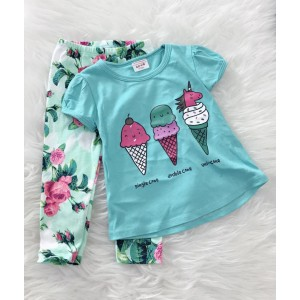 Girl Set -Mint Unicorn Ice Cream With Green Pant