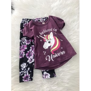 Girl Set -Dark Purple Unicorn With Purple Pant