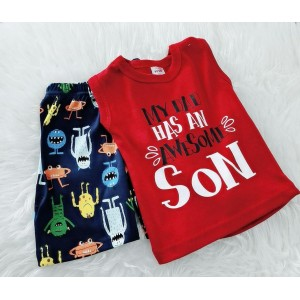 Singlet Boy Set -Red My Dad Has An Awesome Son