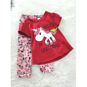 Girl Set- Red Believe In Unicorn With Pink Pant