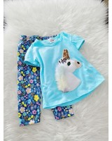 Girl Set -Sequeen Skyblue Unicorn With Blue Flower Pant
