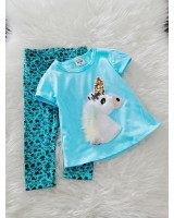 Girl Set -Sequeen Skyblue Unicorn With Turq Flower Pant
