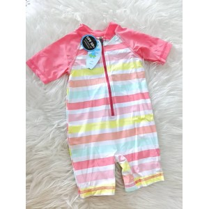 Swimsuit -Carnation Pink With Rainbow Stripe