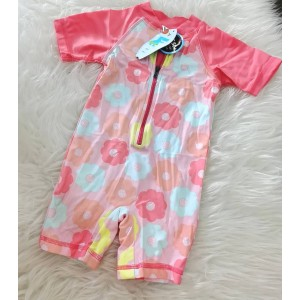 Swimsuit -Carnation Pink With Rainbow Flower