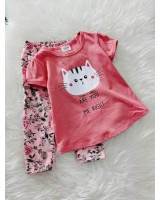 Girl Set- Peach Meow With Floral Pant