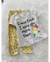Girl Set- Light Brown Dear Dad With Yellow Pant