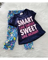 Girl Set- Navy Smart With Blue Flower Pant