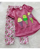 Girl Set-Purple Ice Cream With Pink Floral Pant