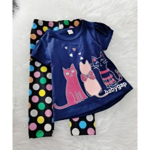 Girl Set-Navy Gap With Polkadot Pant