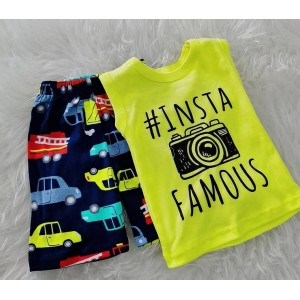 Singlet Boy Set -Light Yellow Insta Famous