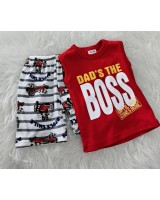 Singlet Boy Set -Red Dad The Boss Until Now